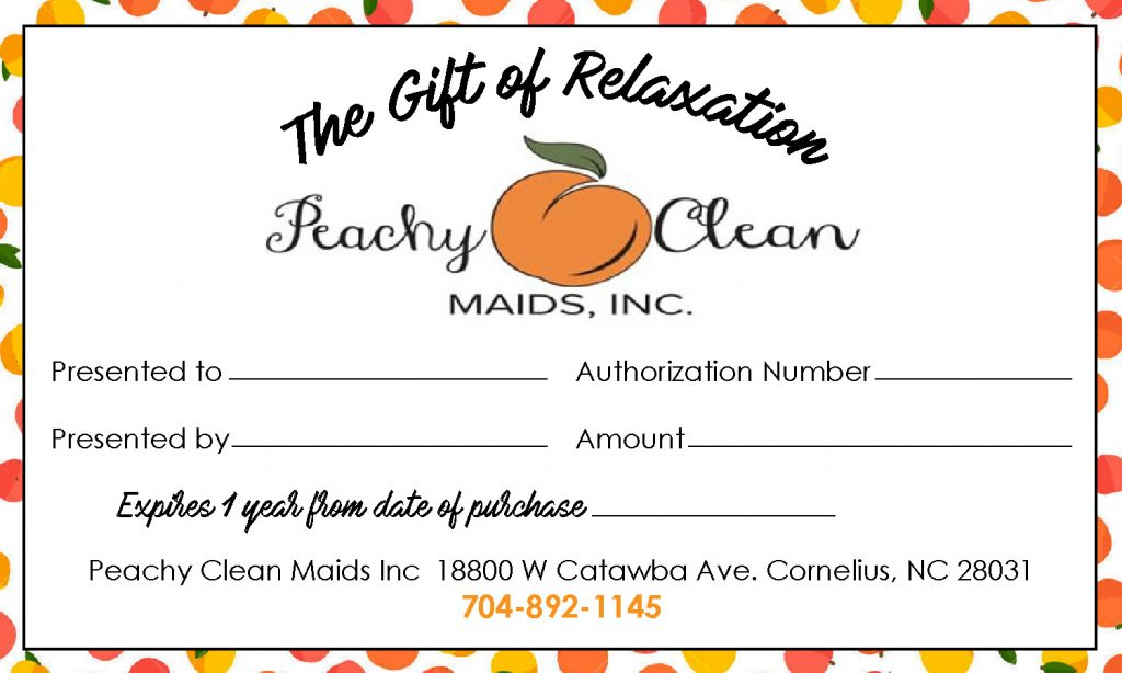 Gift Certificates Peachy Clean Maids